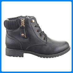 BootsSchwarzb733 Poelman Damen Combat Black Shoes 14922 3jL5A4Rq