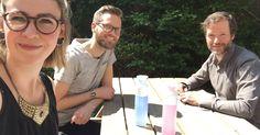 Canday's Jitske, Rutger en Willem tijdens een brainstormsessie in het zonnetje.