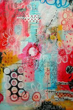 Art Journals 116038127875393537 - The Kathryn Wheel: Messy messy art journaling! Source by lililali Mixed Media Journal, Mixed Media Canvas, Mixed Media Art, Art Journal Pages, Art Journals, Art Journal Backgrounds, Art Altéré, Art Du Collage, Messy Art