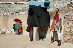 Missoni, A-: Joan Smalls stars alongside some trippy, futuristic creatures in Missoni's surreal fall 2014 campaign. The clothing and set are all about geometry and saturated colors, making the images a feast for the eyes.