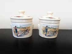 French interior/ french kitchen/ french village/French vintage Ceramic Jars french factory of Sarreguemines