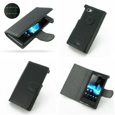 PDair Ultra Thin Leather Case for Sony Xperia J ST26 - Book Type (Black/Green Stitch)