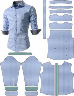 Sewing Collars, Sewing Shirts, Sewing Clothes, Diy Clothes, Mens Sewing Patterns, Sewing Men, Clothing Patterns, Mens Shirt Pattern, Jacket Pattern