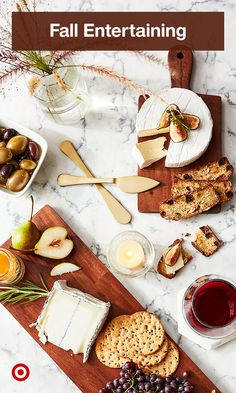 Prep a charcuterie board or a cheese platter for a fall dinner party with serveware & table-setting ideas everyone will love. Fall Dinner, Cheese Platters, Charcuterie Board, Serveware, Kitchen Dining, Table Settings, Sweet Home, Entertaining, Make It Yourself