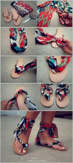23 Totally Brilliant DIYs Made From Common Thrift Store Finds Do you have old flip flops that no longer serve? Give them a new life with the bandana! Related posts: Diy Clothes Refashion Thrift Store 32 neue Ideen NO SEW DIY CLOTHES Flip Flops Diy, Fabric Flip Flops, Diy Clothes Accessories, Jewelry Accessories, Fashion Accessories, Diy Kleidung, Do It Yourself Fashion, Diy Mode, Diy Vetement