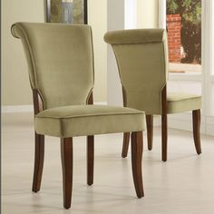 TRIBECCA HOME Andorra Olive Velvet Upholstered Dining Chair (Set of 2) | Overstock.com Shopping - The Best Deals on Dining Chairs