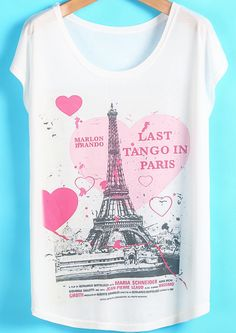 White Short Sleeve Heart Eiffel Tower Print T-Shirt US$14.01