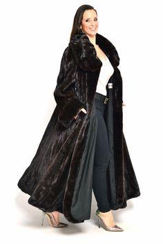 VERY LONG REAL BLACKGLAMA MINK FUR COAT FEMALES BLACK NO SAGA NERZ VISON HOPKA | eBay