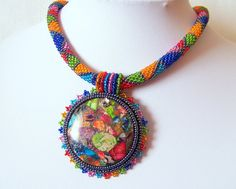 Bead Embroidery Necklace Pendant Beadwork with Rainbow by lutita, $85.00