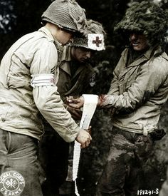 Wounded American Soldier - Normandy France 1944 WWII