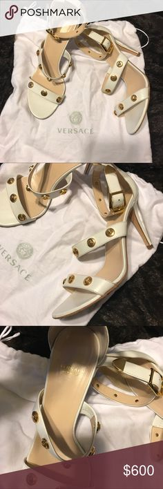 Versace Medusa embedded Heels Beautiful Versace heels. Excellent shoe for spring/summer, and vacations. Barely worn. Always complimented when worn. Extremely comfortable & versatile. Versace Shoes Heels