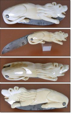 """antique figural German knife has been carved from genuine ivory and it is in the form of a sitting lion. Since we see two different ivory colors we can argue that the lion has been carved from two pieces of solid ivory. It has been mounted with a 3 1/8"""" long carbon steel blade that opens and closes smootly and locks up firmly. Total length 6 5/8"""" - 17 cm."""