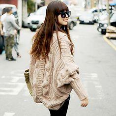 Women's Cable Cut Cape Sleeve Asymmetrical Hem Cashmere Sweater