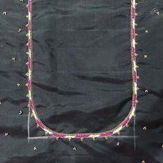 Mirror work for a change 😍 Swipe ⬅️… Wedding Saree Blouse Designs, Best Blouse Designs, Simple Blouse Designs, Blouse Neck Designs, Embroidery Blouses, Hand Embroidery, Simple Embroidery Designs, Mirror Work, Simple Words