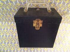 Vintage 1960s record storage box 45 Platter Pak 700 black solid lp vinyl carrier case