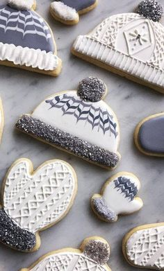 Winter Hats and Mittens Iced Christmas Cookies Frost Yourself