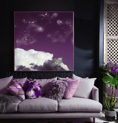 Beautiful Trending Cloud Canvas Fine Art with amazing shining accents and textures, perfect for Modern Home, Office or Hotel Decor. Ready to Hang Canvas Art Print by artist Julia Apostolova