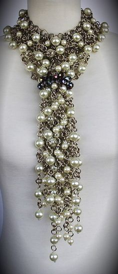 Necklace | Clovis Joyas Designs.  Pearls, crystals and chains.