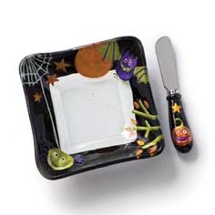 Glass Fusion Halloween Cheese Bowl with Spreader  Silvestri Glass Fusion
