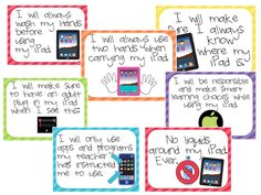 Wonderful posters with rules for iPad use in the classroom.