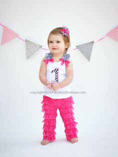 Birthday Outfit Baby Toddler Girls 1st 2nd 3rd Zebra Fuchsia Number With Lace Petti Pants Or