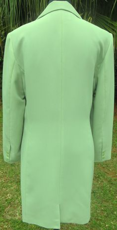 A light summer office style coat from Jean Jacques Benson in a pastel green. No pockets, a back flap, full lining with slightly padded shoulders. Summer Office, Frock Coat, Office Style, Office Fashion, Frocks, Coats For Women, Pastel, Pockets, Elegant