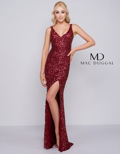 Sleeveless, deep V-neck, and multi-toned sequined prom dress with thigh high slit skirt and scoop back. Colors: Navy Multi, Rose Gold, Chili Pepper, and Powder Blue. Mac Duggal, Slit Skirt, Prom Night, Prom Dresses, Formal Dresses, Sequin Dress, Fashion Beauty, Sequins, My Style