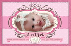 How precious will your little princess look framed in this adorable vintage baby pink polkadot birth announcement design? Show off your beautiful new baby with this gorgeous pale pink birth announcement. www.delightinvite.com