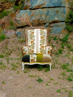 Boho Vintage Wingback Chair by Vintage Renewal on ETSY. Bonus points for staging the photo. Random and so awesome!