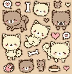 Little Kawaii fluffy dogs