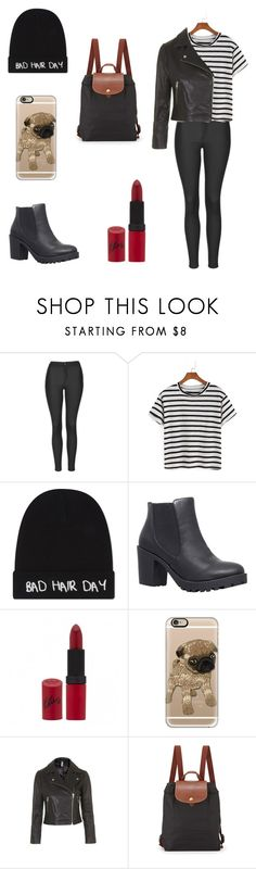 """""""Zoella inspired outfit"""" by leacornelisx ❤ liked on Polyvore featuring Topshop, Local Heroes, Carvela, Rimmel, Casetify, Longchamp, women's clothing, women's fashion, women and female"""