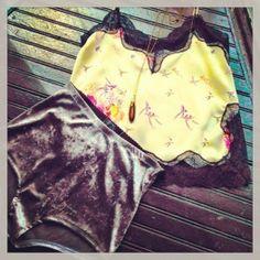 Crushed Velvet Boy Shorts with Ivory Camisole with Lace