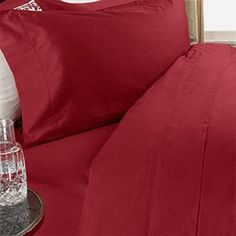 Amazon.com - 800 Thread Count Egyptian Cotton 4 PIECE Bed Sheet Set, California King, Red Solid