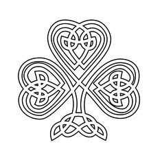 Celtic Shamrock Black White Line Flower Art Coloring Sheet Colouring . Cross Coloring Page, Colouring Pages, Adult Coloring Pages, Coloring Sheets, Coloring Books, Free Coloring, Mandala Coloring, Celtic Quilt, Celtic Shamrock