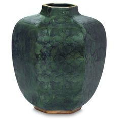 AERIN Geo Vase - Malachite / Green Gold (1.400 BRL) ❤ liked on Polyvore featuring home, home decor, vases, green, gold vase, gold home decor, gold home accessories, green vase and green home decor