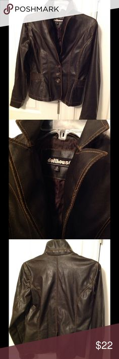 Dollhouse Faux Leather Jacket M Cute. Flattering. Dark chocolate brown jacket. 3 buttons. 2 front pockets. Fully lined. M Like new. No sign of wear!! Dollhouse Jackets & Coats