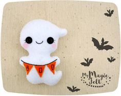 Cute Halloween felt Ghost ornament felt toy by MyMagicFelt on Etsy