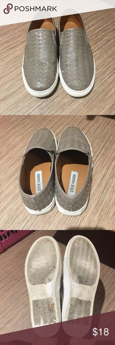 Steve Madden Grey Slip-on Shoes Steve Madden 'woven' grey slip on shoes! Barely used! Size 6.5, but do run a little big, could fit a size 7! Steve Madden Shoes Slippers