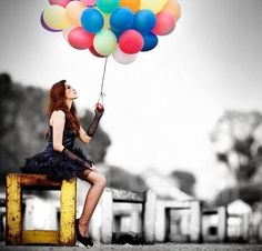 Not diggin the selective coloring, but in love with the balloons & outfit!