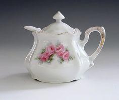 Antique RS Prussia Porcelain Mustard Pot, Mustard Jar with Lid & Spoon, Jelly Jar, Jam Jar, Vintage China, Pink Roses, Gold Trim, 1895-1905