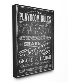 Look at this Black & White 'Playroom Rules' Wrapped Canvas on #zulily today!