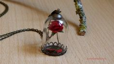 The Beast's Curse.Bronze/Silver Necklace. Nickel and Lead Free.Red Rose.Enchanted Bottle.Beauty and The Beast.Belle et la Bete.True Love