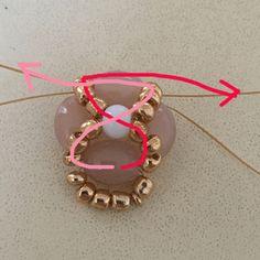 Beades beads+/- 45 minutenBenodigdheden2 stukken koordvan +/- 80 cmVerlengkettingRocailles4mm kraaltjesOvale glaskralen2 buigringetjes (eventueel verschillende matenKalotje4 naaldenTangetje(s)LijmStap 1Rijg op heteerste koordeen ovale kraal en een aantal rocailles. Haal het koordaaan de kant van de rocailles opnieuw door de kraal (links op foto 1).Je krijgt hierdoor het resultaat zoals weergegeven op foto 2.Stap 2Rijg aan hetrechtse koordeen ovale kraal en aan hetlinkse koord...