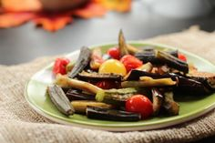 Roasted Okra, Eggplant and Cherry Tomatoes by ANGELA on OCTOBER 11, 2011. Looks yummy!