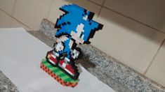 Sonic Pixel Art com base menor tamanho no Elo7 | Eduardo Pixel Art Geek (E57F59) Sonic Pixel Art, Sonic The Hedgehog, Geek Stuff, Base, Toys, Personalized Gifts, Made By Hands, Geek Things, Toy