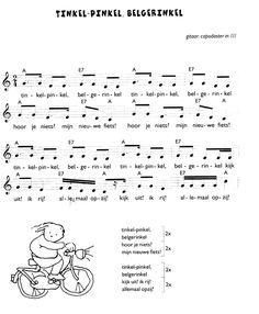 Liedje: vervoer fiets - tinkel pinkel belgerinkel Sheet Music, Math Equations, School, Activities, Bike, Manualidades, Music Sheets
