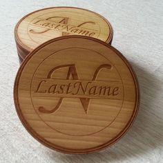 Custom Name/Initials Laser Cut/Engraved Wood Coaster - Custom Set Quantity