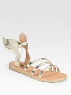 why are you so pretty and SO expensive! - Ancient Greek Sandals - Ikaria Metallic Leather Wing Sandals - Saks.com