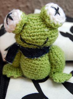 Llavero de ranita hecha a crochet