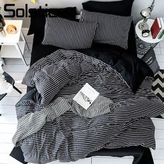 Cheap Bedding Sets, Buy Directly from China Suppliers:Solstice Home Textile Black White Stripe Brief Bedding Set Boy Kid Girls Adult Linen Soft Duvet Cover Pillowcase Bed Sheet Queen Enjoy ✓Free Shipping Worldwide! ✓Limited Time Sale ✓Easy Return.